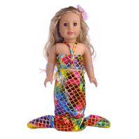 18 inç bebek kıyafeti toptan satış-18 inç Bebek Giyim Denizkızı Kuyruğu Mayo Mayo için 18 '' Amerikan Kız Bizim Nesil Benim Hayat Yolculuk Bebek Aksesuarları