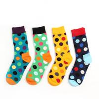 calcetines de color caramelo al por mayor-Al por mayor-Nueva algodón hit color lunares calcetines casuales para hombres Happy's calcetines verano estilo caramelo vestido de colores Soks 8 colores