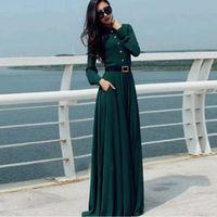 vestidos islâmicos maxi venda por atacado-Abaya do vintage muçulmano islâmico dress verão das mulheres de manga longa cocktail maxi vestido longo retro 50 s 60 s rockabilly dress