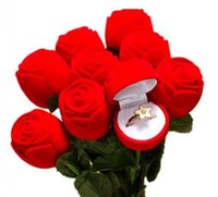 caixas de anel de rosa de veludo venda por atacado-Caixa de anel Novidade Caixas De Armazenamento De Veludo para brincos de Presente de casamento Rose Flor Cartoons Fish Jewelry Box Embalagem Display