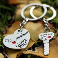 valentines day gift couple 도매-새로운 1 쌍의 커플 내가 편지를 사랑해 열쇠 고리 심장의 열쇠 고리 은빛 연인의 사랑 열쇠 고리 기념품 발렌타인 데이 선물 G293Q
