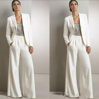 Wholesale plus size sequined jackets - 2018 New Modern White Three Pieces Mother Of The Bride Pant Suits Silver Sequined Wedding Guest Dress Plus Size Mother Dresses With Jackets