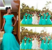 vestidos azuis da dama de honra do laço do aqua venda por atacado-2018 aqua africano lace damas de honra vestidos fora do ombro sereia assoalho comprimento nigeriano maid of honor convidados do partido de casamento vestidos plus size