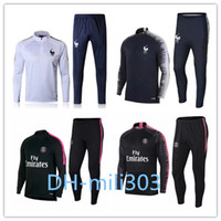 Wholesale uniforms jackets - 2018 2019 France Paris tracksuit set 18 19 GRIEZMANN MBAPPE NEYMAR JR POGBA LUCAS survetement psg Football jacket kit Training suit uniform