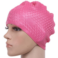Wholesale particle design - Women's Summer Waterproof Particles Design Swimming Cap Excellent Elastic Silicone Ear Protection