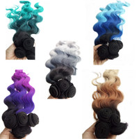 Wholesale weave extension synthetic - Synthetic Hair Extension 280g set 3 bundles hair with one Closure Black Bluish Grey 3Tone Ombre High Temperature Fiber Body Wave Hair Weave