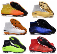 Wholesale 2018 Mens Mercurial Superfly CR7 V FG AG Football Boots Cristiano Ronaldo High Tops Neymar JR ACC Soccer Shoes Magista Obra Soccer Cleats