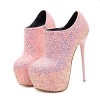 zapatos tacones altos 16 cm. al por mayor-Zapatos Tacon Mujer Mujer Zapatos de tacón alto 16 cm Tacones altos Plataforma Bling Bling Zapatos Sexy Night Bar Ladies con tacones