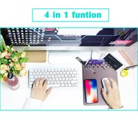Wholesale wireless charger mat - 4 in 1 Qi Wireless Charger Charging Holder Mouse Pad Mat Ruler for iPhone X samsung phone New omputer Mouse Pad Mat Table Gaming Mousepad
