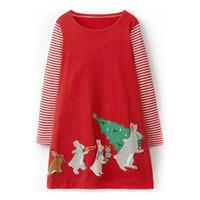 ingrosso applique dell'albero di natale-2018 Cute Christmas dress Puro cotone Girl abbigliamento Bunny Xmas tree applique Abiti manica lunga Rosso 18 M 2 T 3 T 4 T 5 T 6 T All'ingrosso DHL