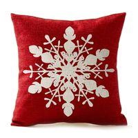 bej yastıklar toptan satış-Kış Selamlar Bej Fildişi Farı Kırmızı Merry Christmas Hediyeler Içinde Güzel Kar Tanesi keten Atmak Yastık Kılıfı Ev