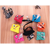 Wholesale headphones cartoons - 2018 One-eyed monster zipper zero wallet cute mini earphone package.Zip zero wallet, personalized mini headphones bag.BBA207