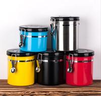 caja de metal café al por mayor-5 estilos caja de almacenamiento de Metal té granos de café de fruta seca tanques de preservación válvula de escape sellado tanque sellador caja de alimentos puede FFA1002 50 unids