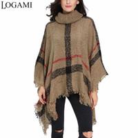 poncho de capa beige al por mayor-LOGAMI Poncho Style Coat Otoño Invierno Poncho Knitting Turtleneck Mujeres Ponchos Largos Y Capas Suéter Pullovers Pull Femme