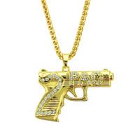 ingrosso donne nere di diamanti-Collana in oro con pendente a forma di pistola, bracciale in oro placcato in oro, con diamanti, gioielli in moda, per donna, collana Hip Hop