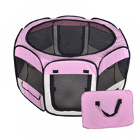 Wholesale New Small Pet Dog Cat Tent Playpen Exercise Play Pen Soft Crate Pink