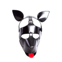 traje de perro de cuero al por mayor-Calidad Soft Faux Leather Puppy Play Dog Cosplay Máscara con orejas y lengua Fetish Hood Pet Role Play Costume sexy