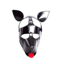 ingrosso maschere di cane in pelle-Qualità Morbida Faux Leather Puppy Play Dog Cosplay Maschera con orecchie e linguetta Fetish Hood Pet Role Play Costume sexy