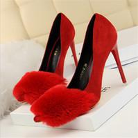 moda de moda venda por atacado-Moda sexy sapatos de pele de salto alto stiletto de salto alto camurça rasa boca apontou sapatos de casamento de pele de coelho