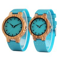 Wholesale Handmade Tags - Fashion Blue Wood Watch Analog Quartz Genuine Leather Band Men Women Creative Handmade Bamboo Wooden Wristwatch Sports Casual Clock Gifts