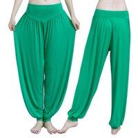 spandex calças quentes mais tamanho venda por atacado-Calças de Yoga Mulheres Plus Size Calças Esportivas Bloomer Dança Taichi Doce Cor Comprimento Total Venda Quente de Fitness Respirável