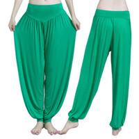 pantalones de spandex caliente más tamaño al por mayor-Pantalones de yoga mujeres tallas grandes pantalones deportivos Bloomer Dance Taichi Color caramelo de larga duración de la aptitud caliente de la aptitud respirable