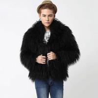 Wholesale fox fur leather jacket men - Wholesale- 2016 New winter men's faux fox fur coat, High-end men's jackets, Black long-hair men coats warm plus thick velvet overcoats