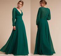manga larga verde ropa formal al por mayor-Modest Long Sleeves Dark Green Dama de honor vestidos para bodas occidentales A Line V cuello largo noche Prom Vestidos Formal Wear
