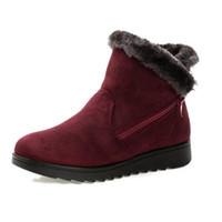 cuña impermeable botas de invierno mujer al por mayor-2018 nuevo diseño de mujer botines moda impermeable plataforma de cuña de invierno cálido botas de nieve zapatos para mujer