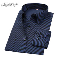 Wholesale green plaid dress resale online - DAVYDAISY Hot Sale Cotton Men Shirt Long Sleeved Striped Solid Plaid Male Business Shirt Brand Clothing Formal Shirt Man DS022