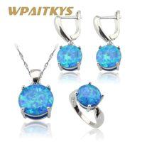 conjuntos de jóias de opalas de fogo azul venda por atacado-Rodada Austrália Fire Blue Opal Cor Prata Conjuntos de Jóias Para As Mulheres de Casamento Colar de Pingente de Brincos Anéis Caixa de Presente