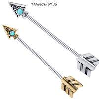 ingrosso pietra opale per gli uomini-Opal Stone Arrow Piercing Industrial Barbell Body Jewelry Acciaio inossidabile Ear Bar Tragus Orecchino 20 pezzi per le donne uomini