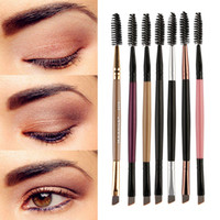 Wholesale brow shadow makeup for sale - Group buy Duo Brow Makeup Brush Wood Handle Double Sided Eyebrow Flat Angled Brushes Brochas Maquillaje Profesional Pinceaux NEW