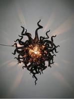 ingrosso arte della parete della lampada-Free Air Shipping Classic Wall Art 100% Handmade Craft House Deco Lampade da parete in vetro di Murano nero