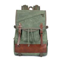 mochila de lona de lona casual venda por atacado-Mochila de lona das mulheres dos homens de 3 cores - Mochila de couro do saco de escola do vintage - Mochilas portáteis do laptop do saco de viagem do diabo de 14 polegadas