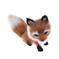Wholesale wedding stuffed animals online - 1pcs cm Small Simulation Fox Toy Mini Squatting Fox Model Home Decoration Wedding Birthday Gift Stuffed Plush Toys