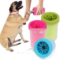Wholesale paw care - Dog Foot Wash Cup Mild Grooming Soft Puppy Silicone Brushes Decontamination Nontoxic Environmental Pet Paw Supplies Creative 14sr VB