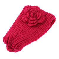ingrosso accessori per capelli fiore crochet-Baby Girls Knitted Headband Crochet Knitting Wool Winter Flower Ear Hairband Fascia Headwrap Elastico per capelli Accessori per capelli