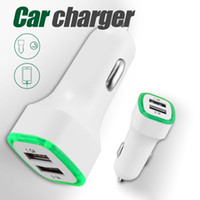 Wholesale cellphone chargers wholesalers online - LED Car Charger V A Dual USB Charging Adapter Port Adapter Cigarette Socket Lighter For Universal Cellphone without Packaging