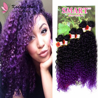 Wholesale synthetic afro kinky weave for sale - Jerry Curl Afro Kinky Curly Ombre Sew In Hair Extensions Pack Synthetic Weft Freetress Crochet Braids Ombre Black Brown Purple