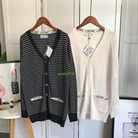nuevos vestidos de lana chica al por mayor-Diseñador de lujo Mujeres CHICAS nueva Manga Larga jersey de lana de viscosa a rayas vestido de punto suéter camisa de la rebeca de chaqueta superior outwear camisa