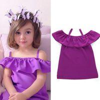 Wholesale violet gowns - Baby girls Violet Leaky shoulder dress INS children suspender ruffle Off Shoulder princess dresses 2018 summer Boutique kids Clothing C4034
