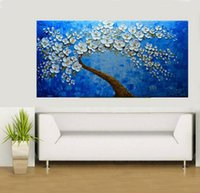 Wholesale oil landscapes painting knives for sale - Large Size Handpainted Abstract Palette Knife Flowe Landscape Oil Painting On Canvas Modern Wall Art Pictures For Home Decoration