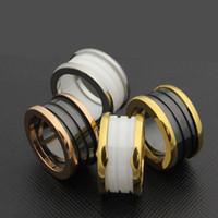 anéis de ouro branco de qualidade venda por atacado-Top Quality Whorl Preto Branco Cerâmica Anéis de Prata de Ouro Rosa de Metal cor Titanium aço Inoxidável banda BV anéis famosa marca Anéis casal