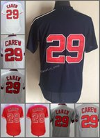 Wholesale rod drying - 2018 Flexbase #29 Rod Carew Home Away Baseball Jersey White Red Grey Cream Beige Cool Base Stitched Jerseys