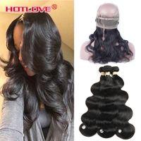Wholesale 2pcs Bundles Closure - HOTLOVE India 2Pcs  3Pcs Body Wave Hair Weft with 360 Lace Frontal Closure Indian Virgin Unprocessed Human Hair Bundle with 360 Closure