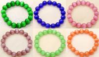 grünes opal perlenarmband großhandel-12mm Multicolor grün blau rosa Katzenauge Opal Perlen Stretchy Armreif
