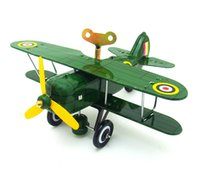 Wholesale tin toys wholesale - Vintage Mechanical Clockwork Wind-Up Metal Airplane Tin Toy Kids Gift