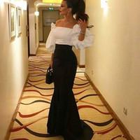 beyaz akşam elbisesi kabarması toptan satış-Siyah ve Beyaz Abiye Omuz Kapalı Puf 3 / 4Long Kollu Kat Uzunluk Mermaid Balo Abiye