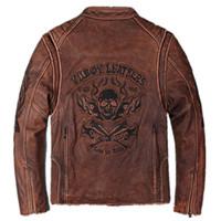 ingrosso uomini rossi biker-2017 Uomo Vintage Red Genuine Skull Leather Jacket Moto vera pelle bovina spessa Slim Fit Biker in pelle inverno cappotti M-XXXL